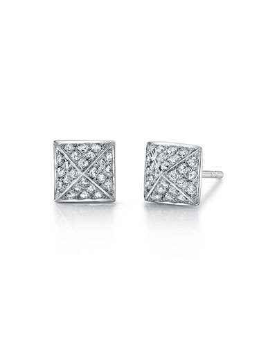 18k White Gold Pyramid Diamond Stud Earrings