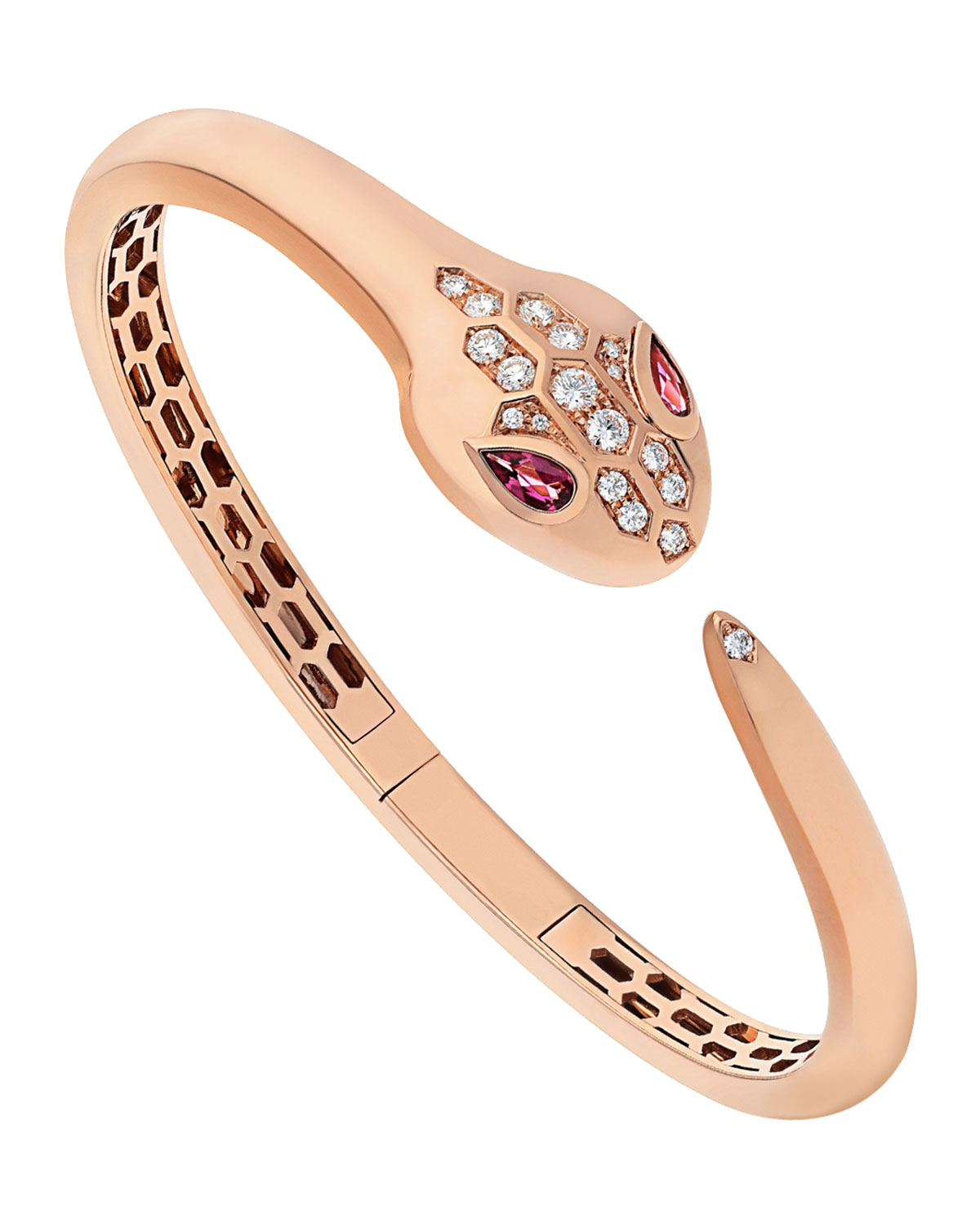 Serpenti 18k Rose Gold Bracelet with Rubellite and Diamonds