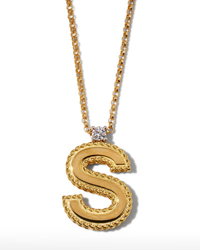 Princess 18K Yellow Gold Diamond Initial Necklace, S