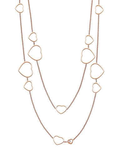Happy Hearts 18k Rose Gold Diamond Long Station Necklace