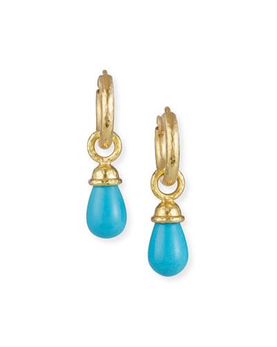 19k Turquoise Teardrop Earring Pendants