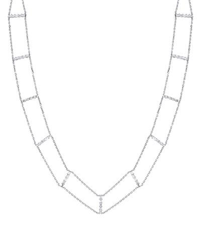 18k White Gold Flexible Mixed-Diamond Choker Necklace