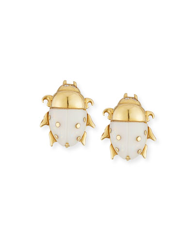 18K Yellow Gold Diamond & Opal Scarab Stud Earrings