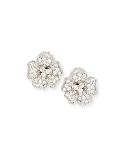 Diamond Pansy Flower Earrings in 18K White Gold