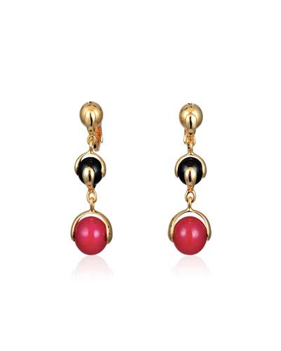 Red Agate & Black Spinel Three-Drop Earrings