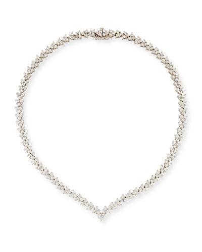 V-Shape Diamond Riviera Necklace, 11.10 tdcw