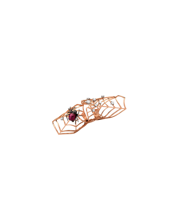 STAURINO FRATELLI 18K Rose Gold Flex Ruby Spider Ring With Diamonds, Size 7.5