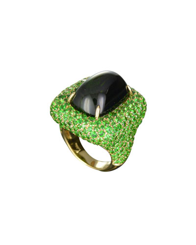 Marbella Green Tourmaline Cabochon Ring in 18K Gold, Size 6.5