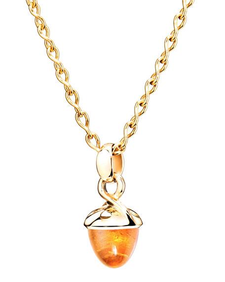 Tamara Comolli 18k Yellow Gold Mandarin Garnet Acorn Pendant