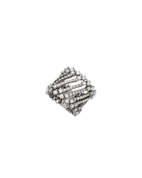 Staurino 18=k White Gold White Gold Diamond Spaghetti Band Ring