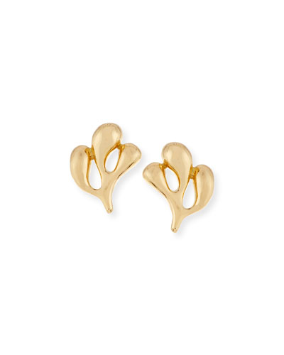 Sea Leaf 18K Gold Stud Earrings