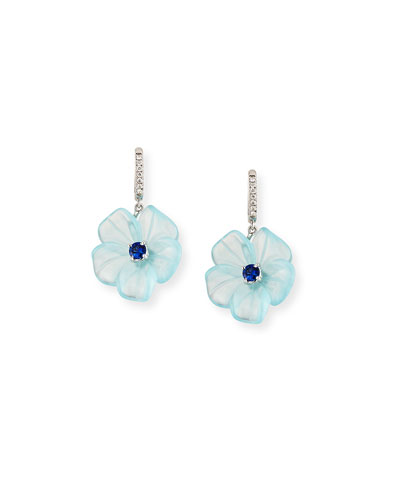 Floral Aquamarine & Sapphire Earrings with Diamonds