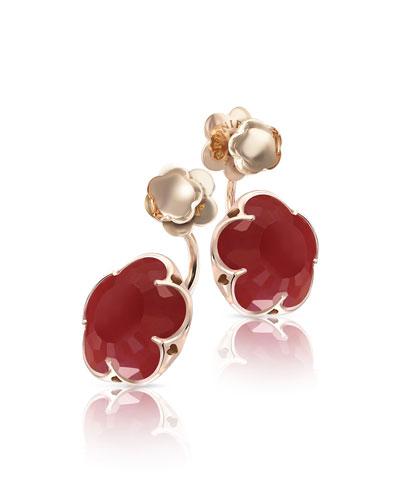 Bon Ton Carnelian Flower Jacket Earrings in 18K Rose Gold