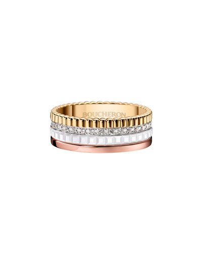 Quatre Small Tricolor Gold & White Ceramic Ring with Diamonds, Size 53