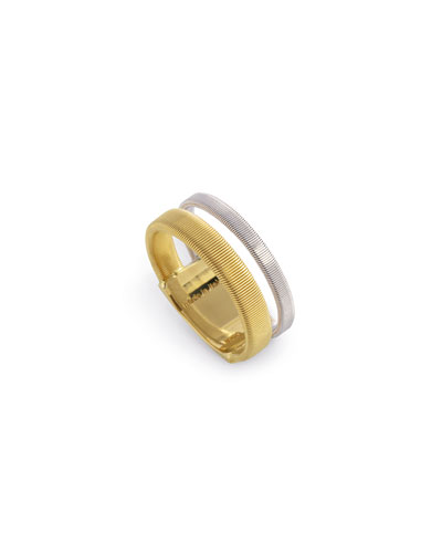 Masai Stacked 18K Yellow & White Gold Ring, Size 6