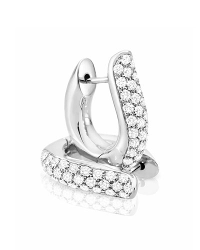 Pave Diamond Hoop Earrings in 18K White Gold