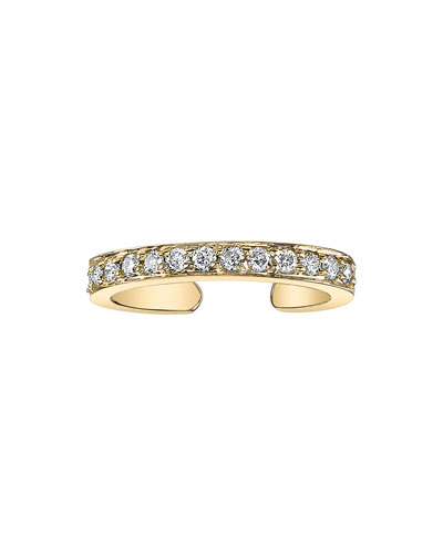 18k Gold Single-Row Diamond Ear Cuff (Single)