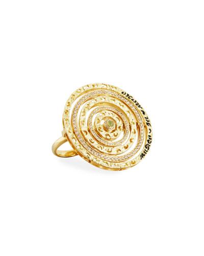 Champagne Diamond & Green Corundum Ring in 18K Gold