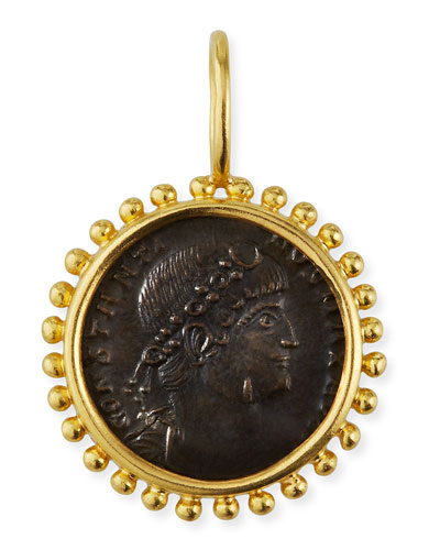 Bronze Coin & 19K Yellow Gold Pendant