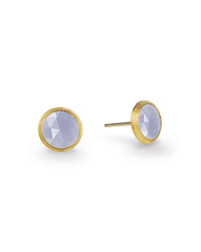 18K Yellow Gold Engraved Jaipur Stud Earrings With Chalcedony in Yellow Gold/ Chalcedony