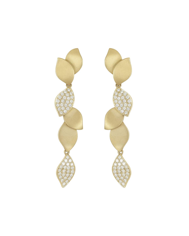 Lotus Long Diamond Dangle Earrings