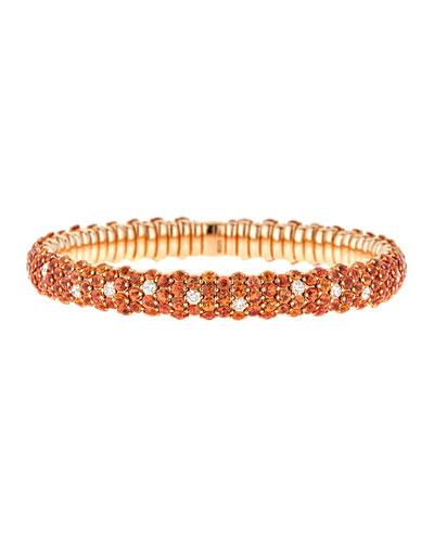 Stretch Orange Sapphire & White Diamond Bracelet