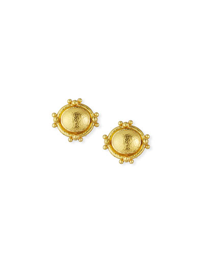 19K Gold Oval Dome Earrings