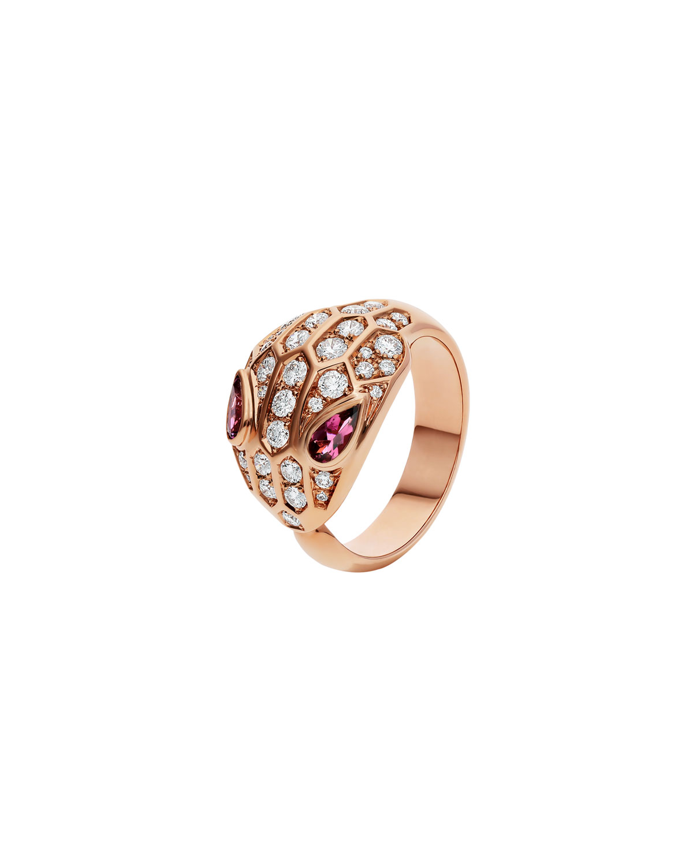 Serpenti Rubellite and Diamond Ring in 18k Rose Gold