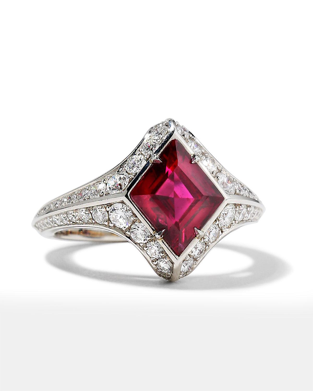 Platinum Lozenge Ruby and Diamond Ring