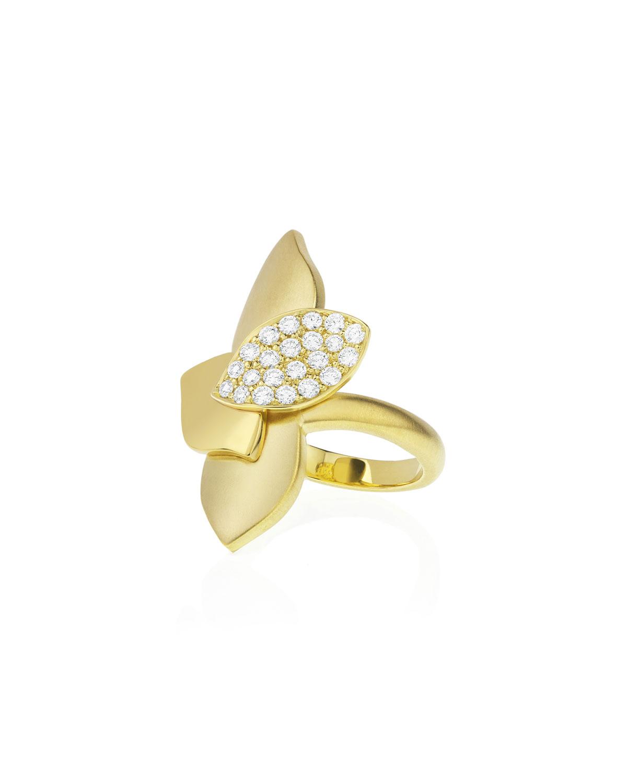Lotus Diamond Pave North-South Ring