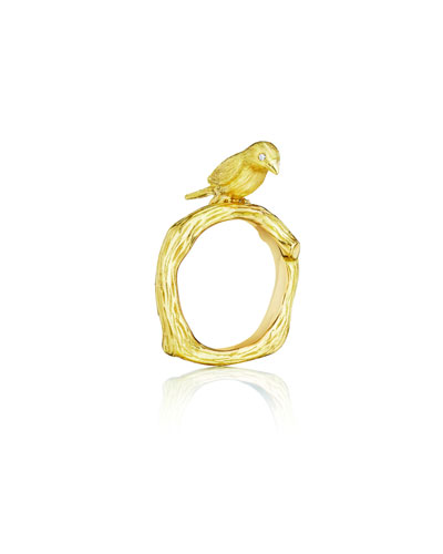 Wonderland 18K Gold Bird Ring, Size 8