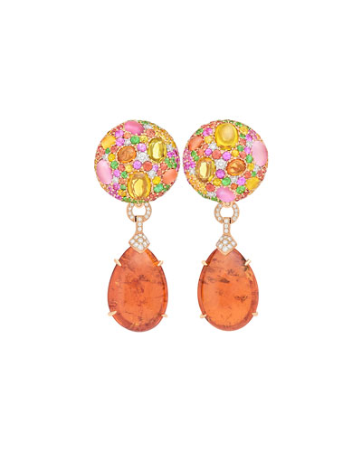 Carnivale Mandarin Garnet Earrings with Sapphires & Diamonds