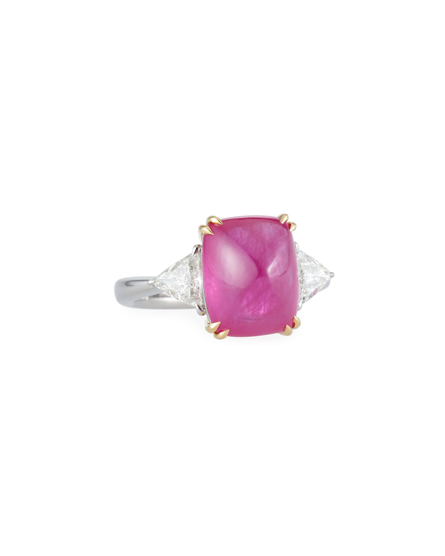 ALEXANDER LAUT Sugarloaf Platinum Ruby & Diamond Ring, Size 7