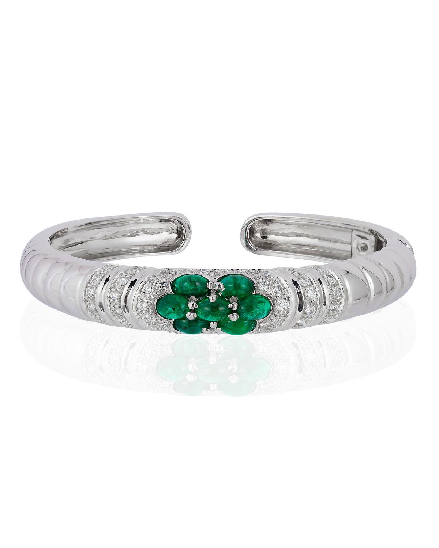ANDREOLI 18K White Gold Emerald & Diamond Bangle