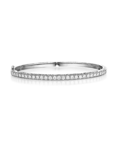 Thin Pavé Diamond Hinged Bangle