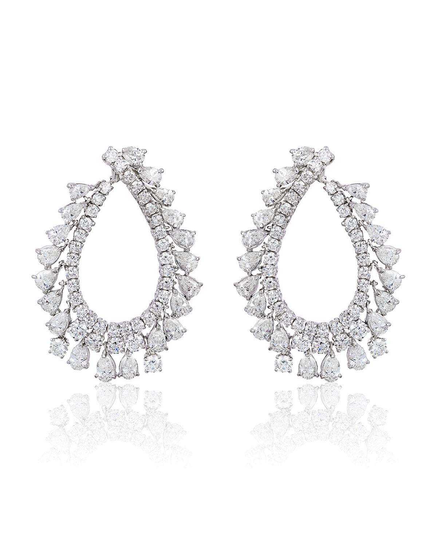 ANDREOLI 18K White Gold Diamond Pear Hoop Earrings