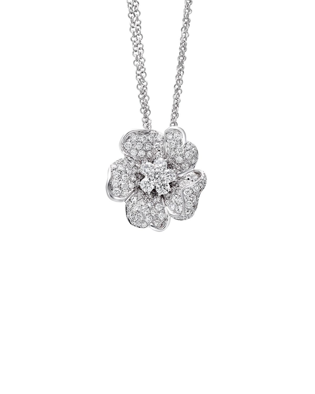 LEO PIZZO Iconic Flower 18K White Diamond Pendant