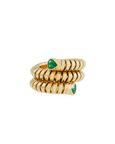 MARINA B Trisola 18K Yellow Gold Emerald Coil Ring, Size 6