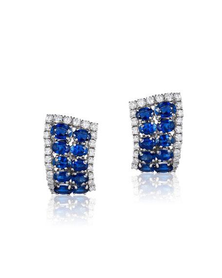 Andreoli 18k White Gold Sapphire & Diamond Earrings