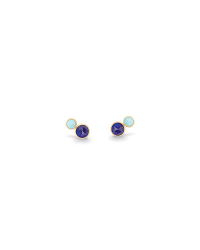 Jaipur Lapis & Turquoise Bezel Stud Earrings