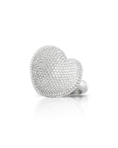 Pavé Diamond Heart Ring in 18K White Gold
