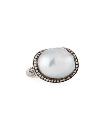 ASSAEL Baroque Pearl & Diamond Ring