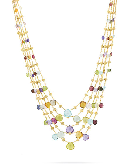"""Marco Bicego Paradise Five-Strand Mixed-Stone Necklace, 16.5"""""""