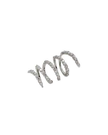 Staurino Magic Snake 18K White Gold Spiral Ring with Diamonds, Size 6.5