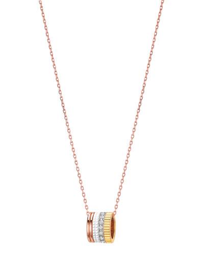 Quatre Mini Ring Pendant Necklace with White Diamonds