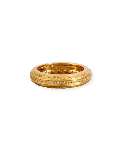 The Other Half Men's Textured 18K Gold Band Ring with Champagne Diamonds ...
