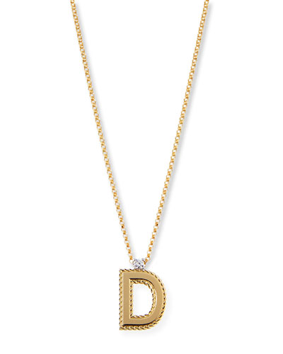Princess 18K Yellow Gold Diamond Initial Necklace, D