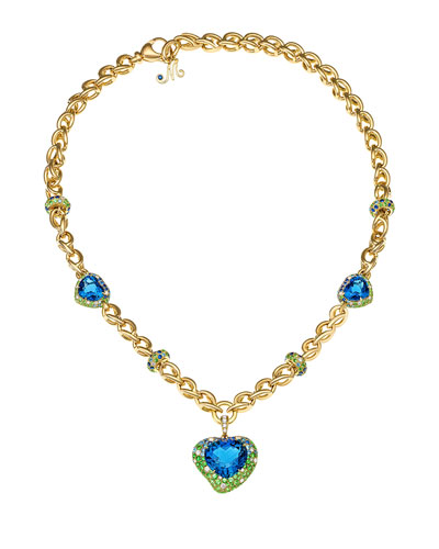 Hearts Desire Topaz & Sapphire Necklace with Diamonds in 18K Gold
