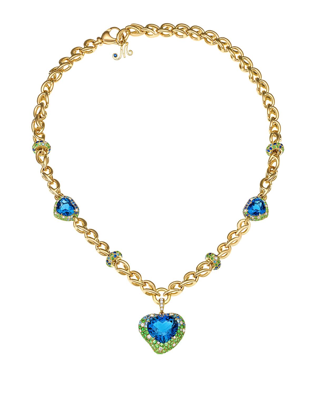 MARGOT MCKINNEY JEWELRY Hearts Desire Topaz & Sapphire Necklace With Diamonds In 18K Gold