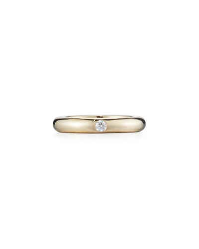 Pop 18K Yellow Gold Ring with One White Diamond, Size 6.5